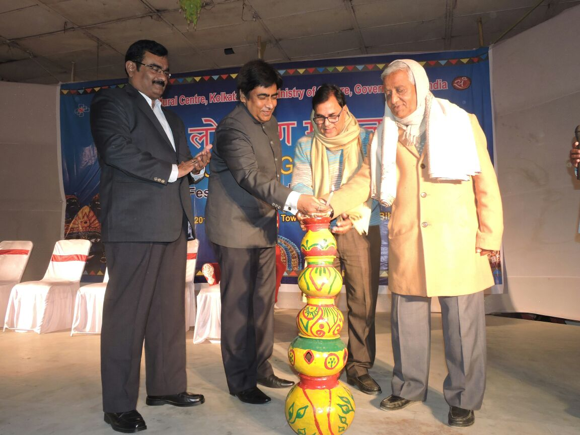 Educationist Dr.Bhupendra Madhepuri inaugurating Tridiwasiya Bharat Lok Rang Mahotsava (4-6 January, 2017) organised by East Zone cultural center Kolkata , Jointly with SP Vikas Kumar , DDC Mithilesh Kumar and Prof.S.K.Yadav at B.P.Mandal Nagar Bhawan , Shahid Chulhay Marg , Madhepura.