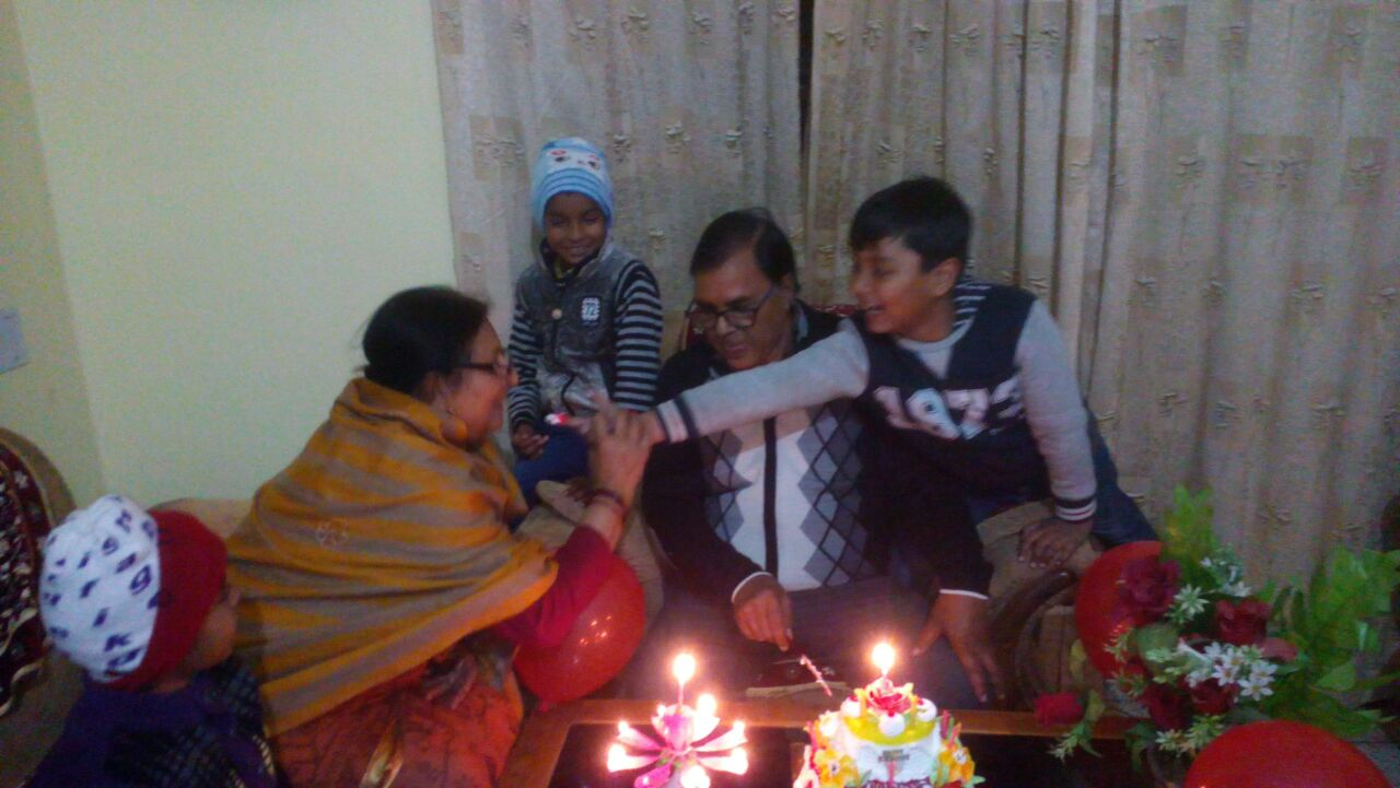 Aditya (Grandson of Dr.Madhepuri) celebrating Happy Birthday of his Nana with his friends and Nani Renu Choudhary at Vrindavan , Madhepura .