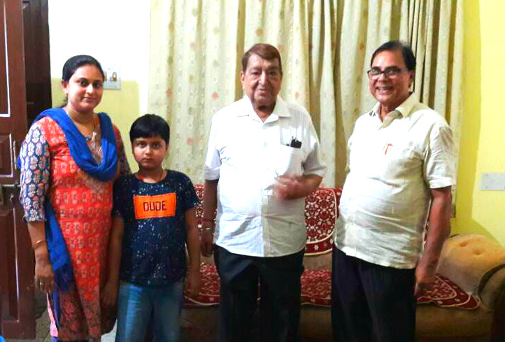 Dr.Madhepuri with daughter Dr.Rashmi Bharti & grandson Aditya greeting Additional Secretary To The Govt. Of India  Shri B.D.Tekriwal .