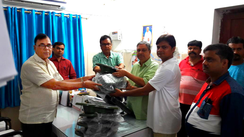 Philanthropist Dr.Bhupendra Narayan Madhepuri donating dozen of Bed-Pan to C.S. Dr.Gadadhar Pandey & D.S. Dr.Akhilesh Kumar to fulfill the requirements of Male and Female Patients, in presence of DPC Tajendra Kumar & Manager Navneet Chandra along with employees Sanjeev Sinha , Deepak Shrivastava , Manikant and others at Sadar Hospital Madhepura .