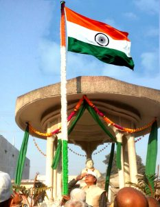 Dr.Bhupendra Madhepuri hoisting Indian National Flag at Madhepura .