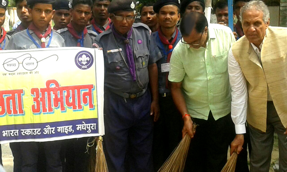 Taking part in Swachhta Abhiyan with Dr.Awadh Kishor Ray V.C. BNMU and Scout Personnel.