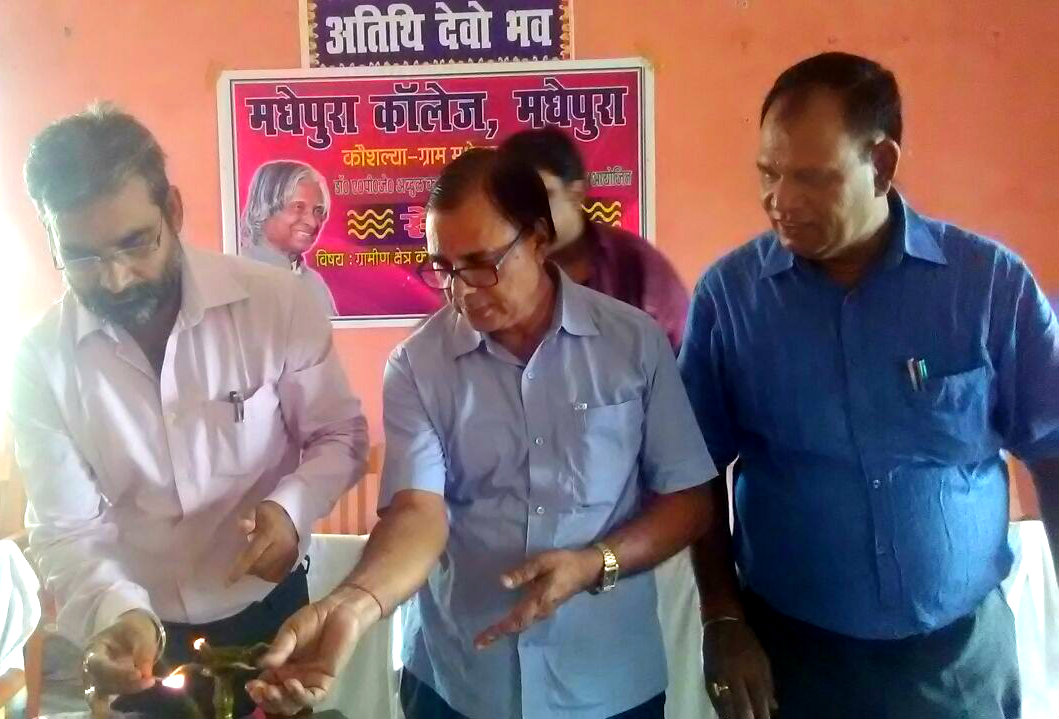 Educationist Dr.Bhupendra Madhepuri remembering Bharatratna Dr.APJ Abdul Kalam by lighting candles on his first death anniversary at Madhepura College Madhepura.