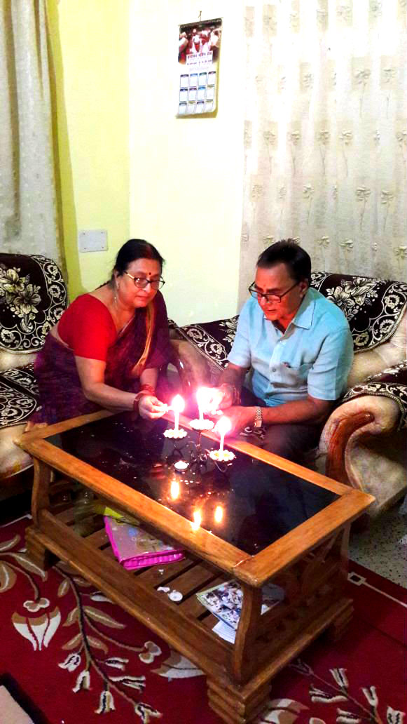 Dr.Madhepuri celebrating Diwali, The Festival of Light  with wife Renu Choudhary at Vrindavan Madhepura.