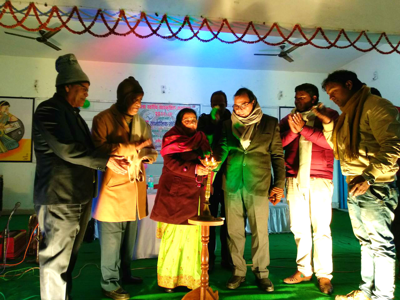 Educationist Dr.Madhepuri along with Zila Parishad President Smt.Manju Devi, inaugurating a cultural program organised by Nat-Ang Social-Cultural Club & NYC at Bhupendra Kala Bhawan , Madhepura.