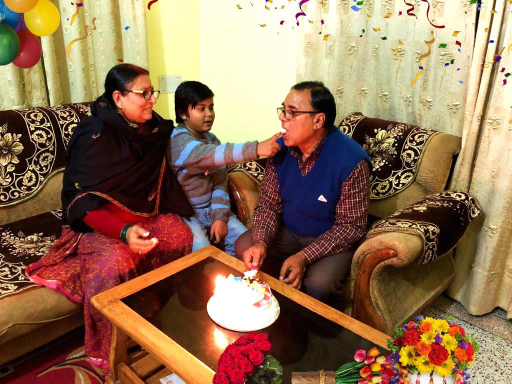 Aditya celebrating Happy Birthday of his Nana Dr.Madhepupri with Nani Renu Choudhary at Vrindavan, Madhepura.