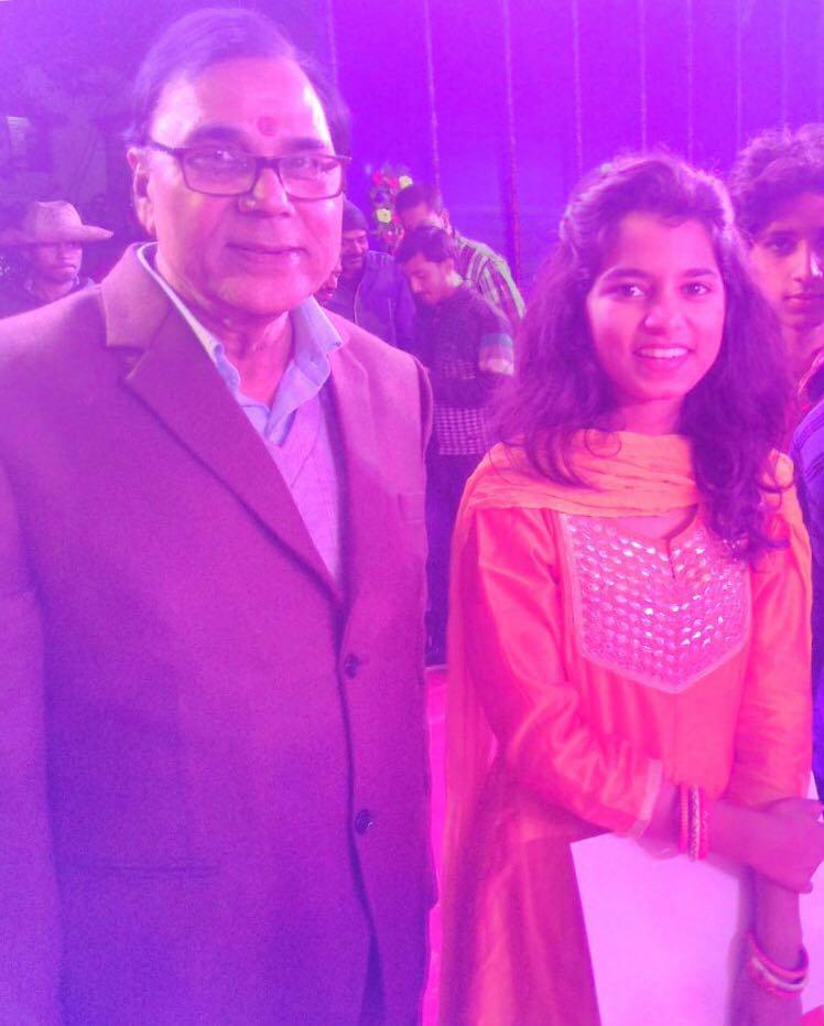 Dr.Madhepuri with Rising Classical Singer Maithili Thakur at Singheshwar Mahotsav 2018.