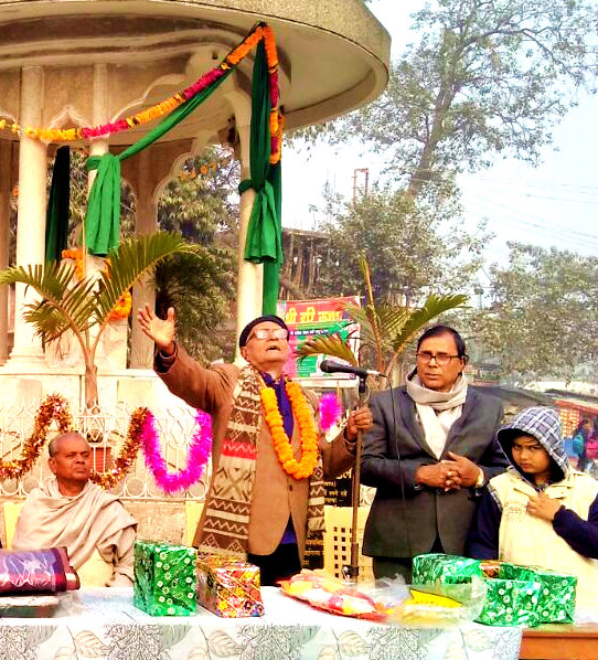 Dr.Bhupendra Madhepuri along with Grand Intellectual Giant of Kosi Region Sri Hari Shankar Srivastav Salabh at Bhupendra Chowk, Madhepura on the eve of Bhupendra Jayanti - 2018.