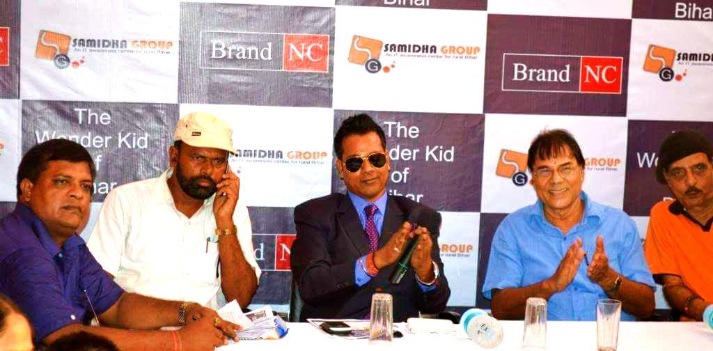 Samajsevi Dr.Bhupendra Madhepuri along with Sri Dilip Jha , Sri Dhyani Yadav and others during a function of Brand NC organised by Samidha Group Madhepura.