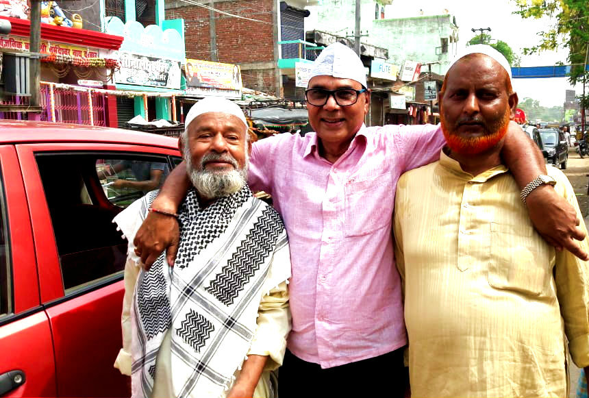 Dr.Madhepuri with his childhood friends Md.Yunus celebrating Eid-Milan near Bhupendra Chowk Madhepura.