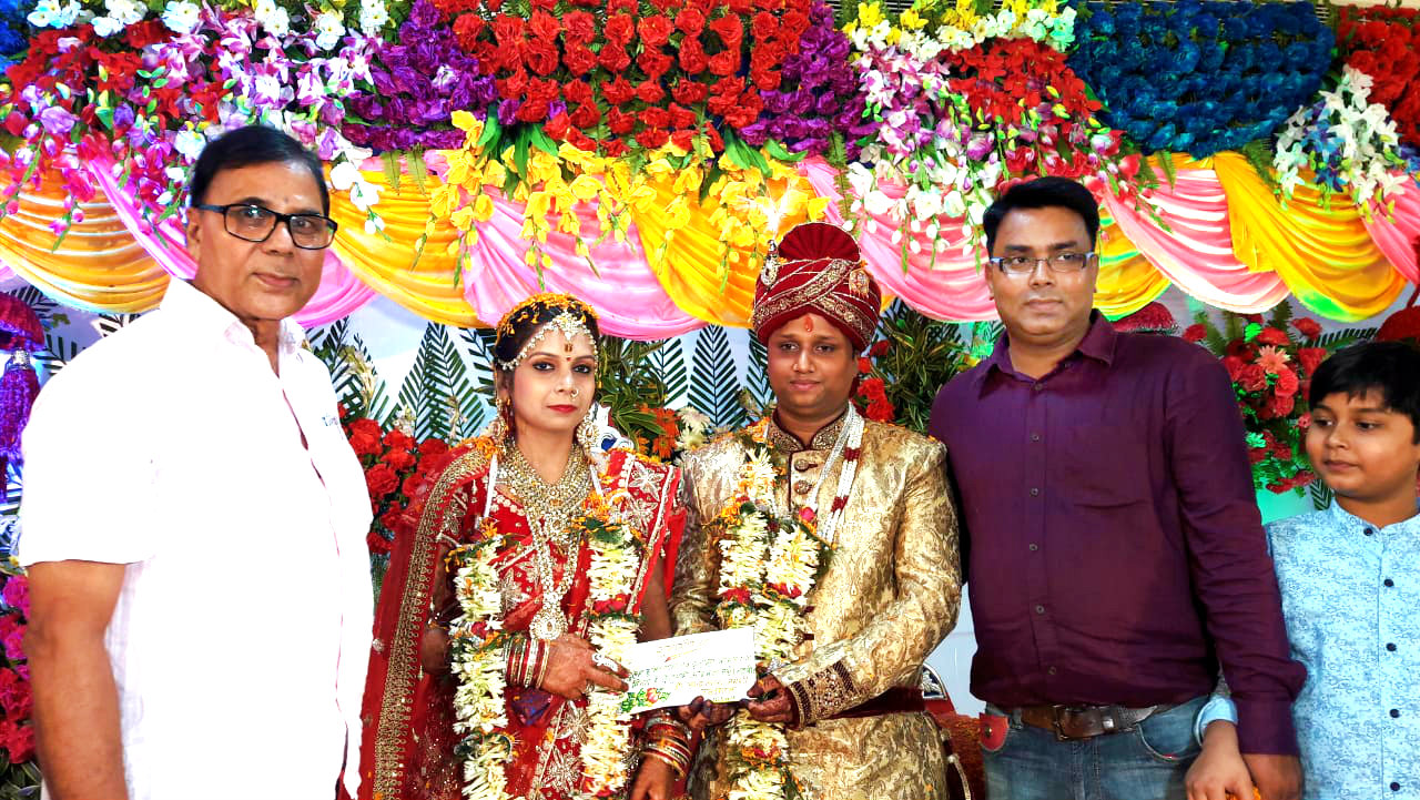 Samajsevi Sahityakar Dr.Bhupendra Madhepuri along with Experienced Surgeon Dr.Barun Kumar & Grandson Aditya attending Wedding Ceremony of Ayushman Sumit and Ayushmati Komal at Jeewan Sadan , Madhepura.