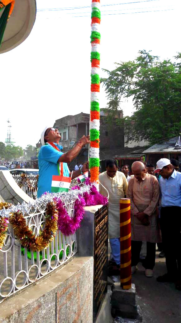 Dr.Bhupendra Narayan Madhepuri celebrating Independence Day Flag Hoisting Ceremony at Bhupendra Chowk , Madhepura.