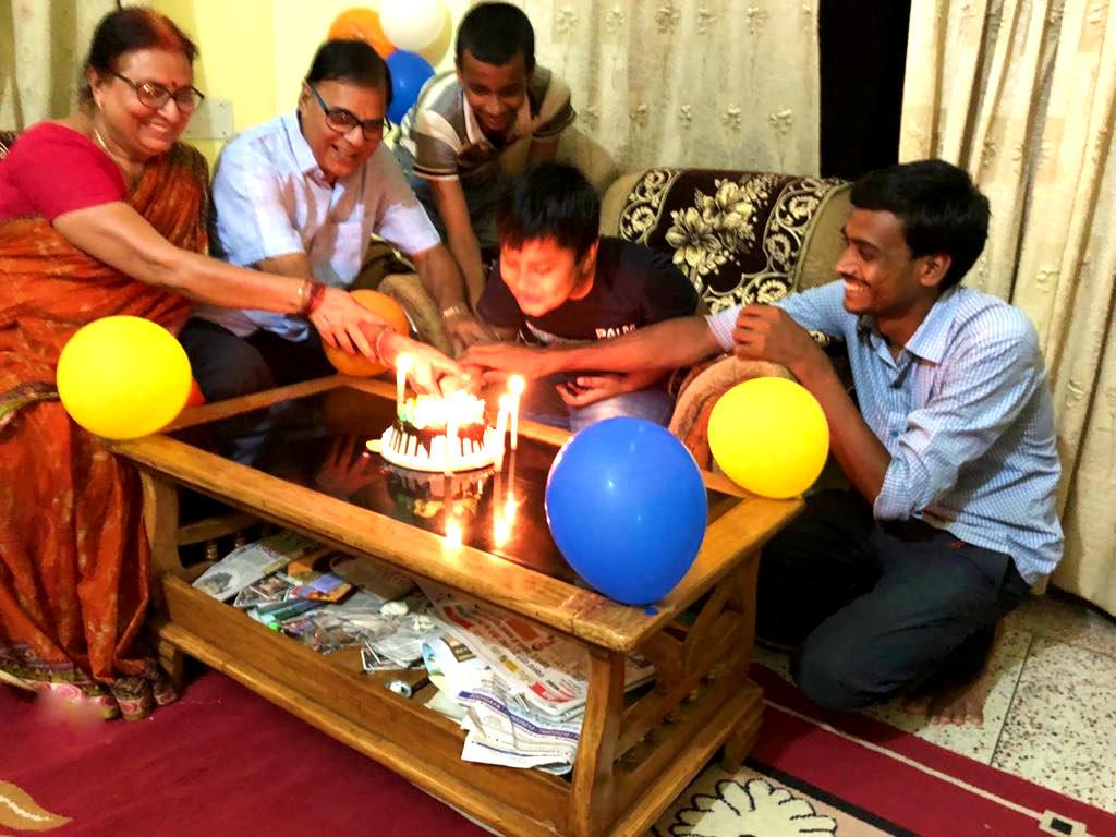 Dr.Madhepuri along with his wife Renu Choudhary, Grandson Aditya and others celebrating 'Vrindavan Day' at his Vrindavan Residence , Madhepura.