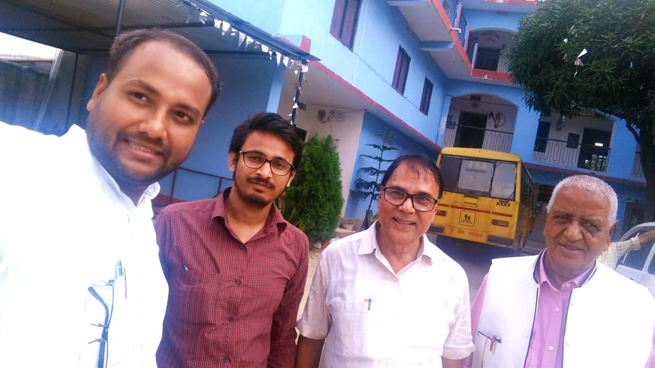 Dr.Madhepuri with K.P.S. Director Shri Aman Prakash , Shri Aditya Kr. Anand, Finance Officer Samastipur Rail Division & Prof S.K.Yadav at KPS Campus.