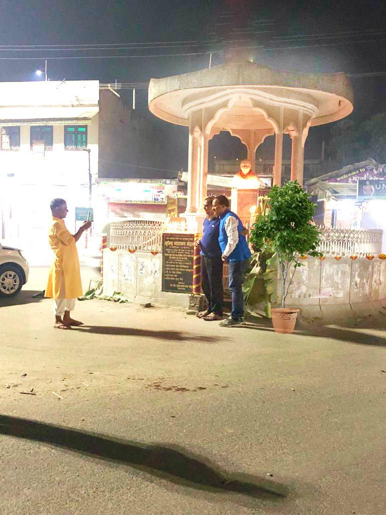 Dr.Bhupendra Madhepuri along with Shri Rajesh Jha at Bhupendra Chowk during late night of Diwali.
