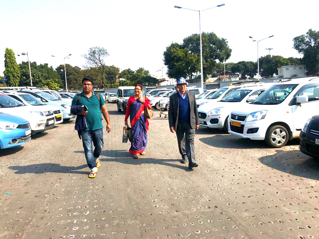 Dr.Madhepuri & his Mrs.Renu Choudhary along with their son-in-law Dr.Barun & others after landing at Bagdogra Airport on way to Madhepura (Bihar).