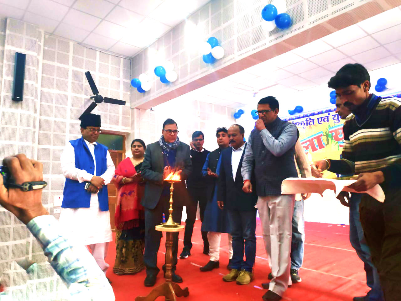 Samajsevi-Sahityakar Dr.Madhepuri along with ADM Shri Upendra Kumar, SDM Shri Vrindalal and others attending inaugural function of
