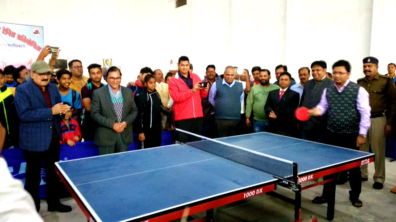 Samajsevi Dr.Madhepuri, DM Shri Navdeep Shukla, DDC Shri Mithilesh Kumar, Bank Officer Shri Santosh Kumar Jha & others attending 67th State Level Table Tennis Competition at BP Mandal Indoor Stadium, Madhepura.