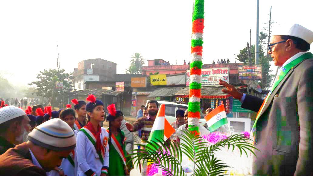Dr.Madhepuri delivering speech after Flag hoisting at Bhupendra Chowk Madhepura.