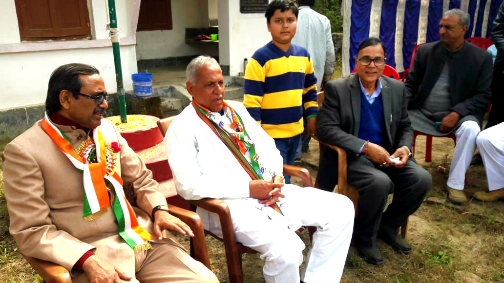 Dr.Madhepuri along with his grandson Aditya attending the 70th Republic Day celebration with V.C. Dr.A.K.Roy & Pro-VC Dr.Farooque Ali at BN Mandal University Campus.