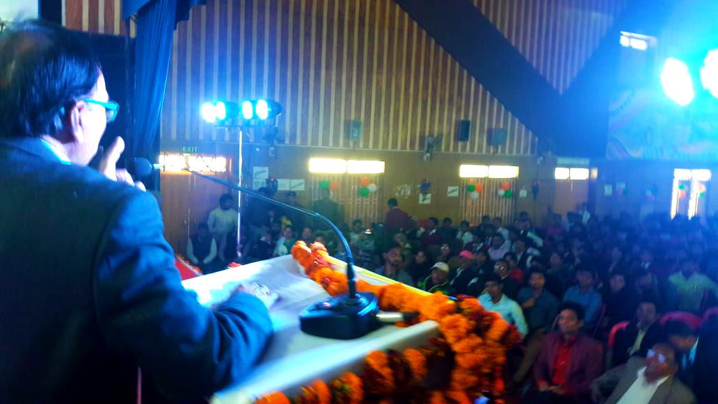 Dr.Madhepuri addressing at University Auditorium .