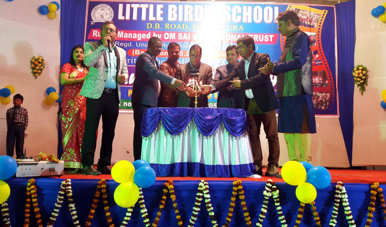 Educationist Dr.B.N.Yadav Madhepuri along with DPO Girsh Kumar, Dr.R.K.Pappu and others inaugurating the annual function of Little Birds School at B.P.Mandal Town Hall, Shahid Chulhai Marg, Madhepura.