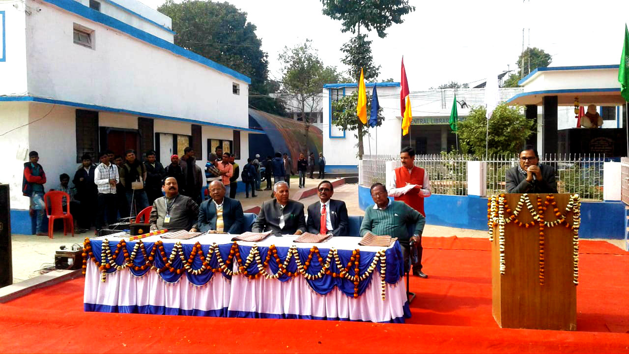 Former Controller of Exam (BNMU) Dr.Bhupendra Narayan Madhepuri addressing the students, teachers and officers of the university on the occasion of 116th Birth Anniversary of Great Socialist Leader B.N.Mandal in presence of VC, Pro-VC, Registrar, Dean & Financial Advisor & other at the South Campus of BNMU, Madhepura.
