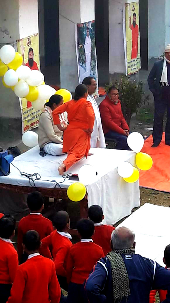Chief Guest Dr.B.N.Yadav Madhepuri along with Dr.N.K.Nirala, Smt.Veena Devi & others observing the performance delivering by Shadhvi Devshruta & Shadhvi Dev Archana from Haridwar at Rasbihari Vidyalaya Campus, Madhepura.
