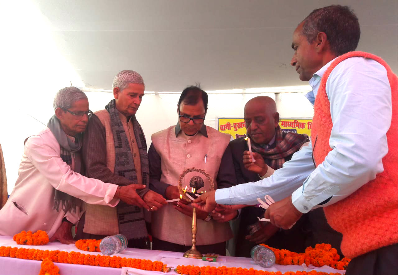 Samajsevi - Sahityakar Dr.Madhepuri along with retired school & college teachers inaugurating the function of Dani-Dukhani Smarak Maha Vidyalaya at Turkahi, Madhepura.