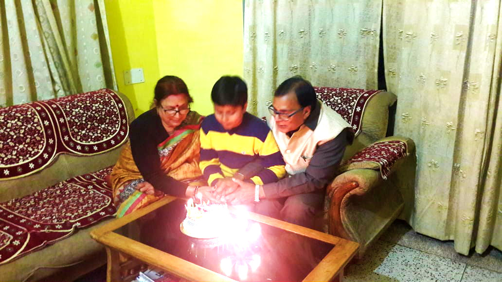 Dr.Madhepuri along with Mrs.Renu & grandson Aditya celebrating his Birthday on the 10th February at his residence Vrindavan.