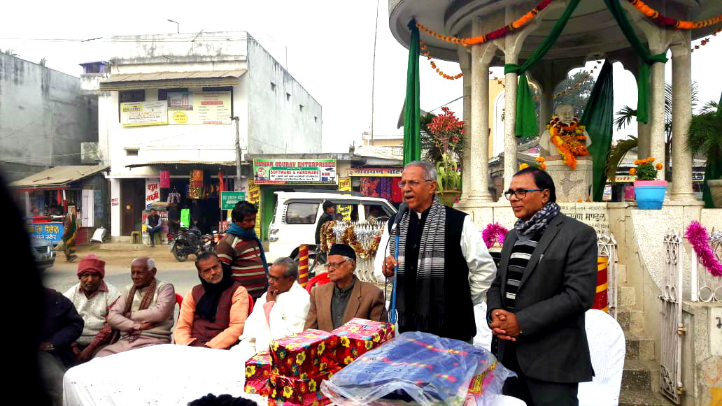 Dr.A.K.Ray (VC BNMU) addressing the audience in presence of Sahityakar Harishankar Shrivastav Shalabh, Samajsevi Dr.Bhupendra Madhepuri , Prof Shachindra Mahto & others at Bhupendra Chowk, Madhepura.