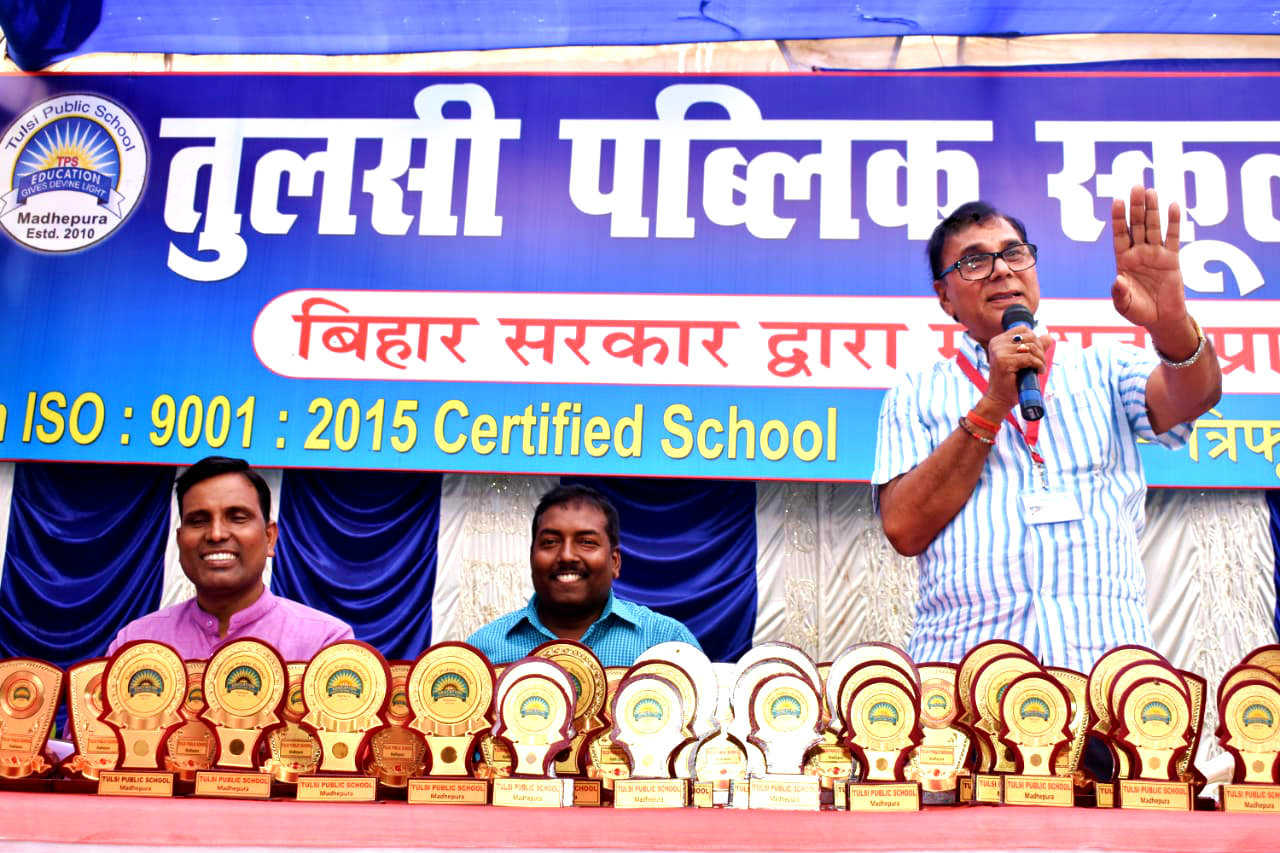Chief Guest Dr.Madhepuri addressing the guardians, students and teachers on the occasion of Samman Samaroh Ceremony of T.P.S. Students obtaining 1st, 2nd & 3rd Positions in annual examinations of all classes.