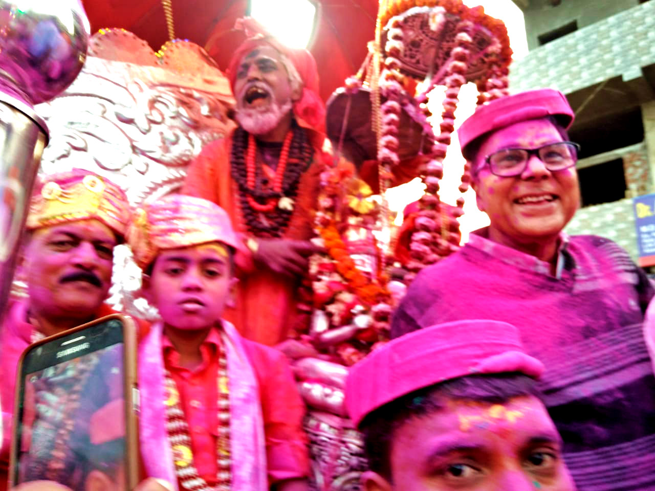 Dr.Madhepuri along with S.D.M. Vrindalal and Kids in a Barat procession of Lord Shiva on the occasion of Mahashivratri at Singheshwar.