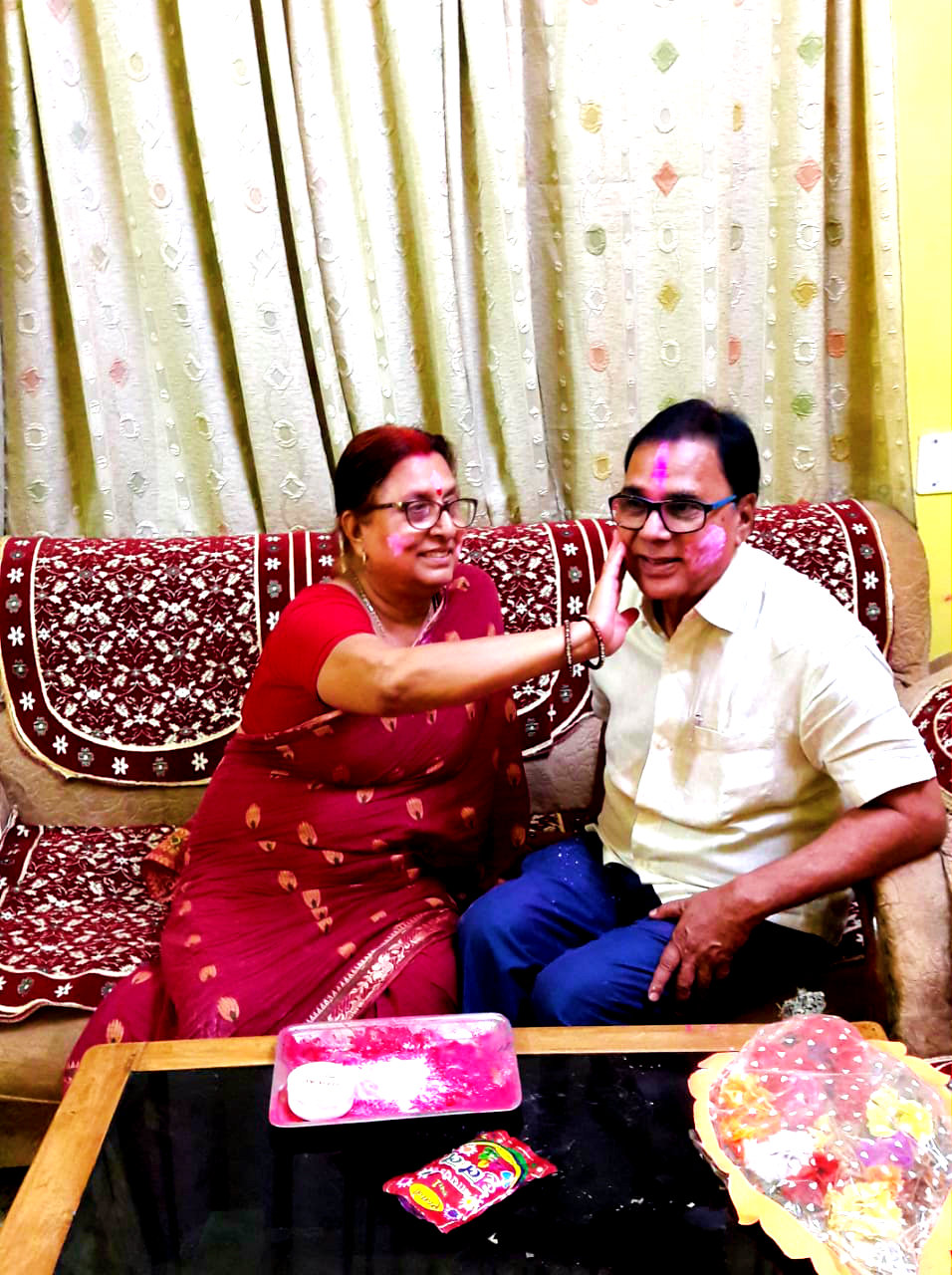 Mrs. & Mr. Madhepuri celebrating Holi at their residence Vrindavan whispering a melodious song-