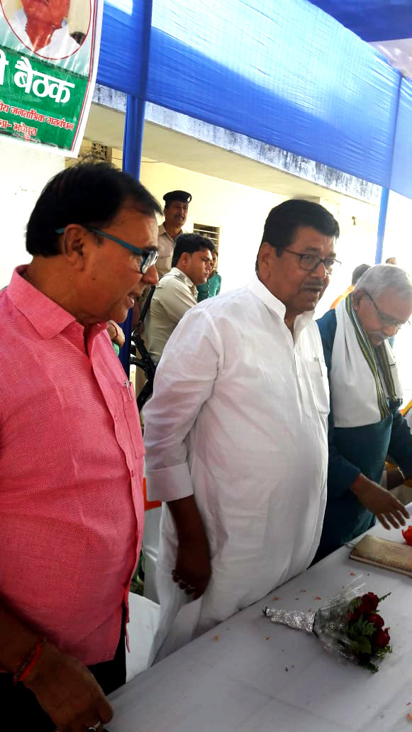 Cabinet Minister of Bihar & Former Member of Parliament Shri Dinesh Chandra Yadav with JDU Senior Leader Dr.Bhupendra Narayan Madhepuri and Former Senior Minister of Bihar cum MLA Alamnagar Shri Narendra Narayan Yadav attending the first NDA Karyakarta Baithak of MP Election at Anand Mandal Campus, BP Mandal Path, Madhepura.