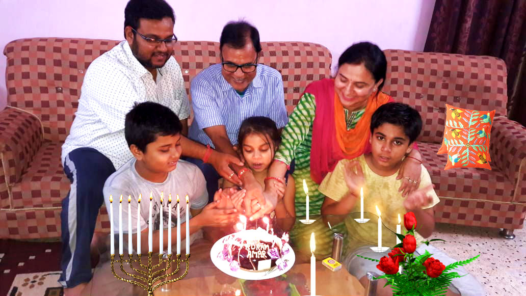 Dr.Madhepuri with grand-kids Akashay, Aadya & Aditya celebrating Happy Birthday of Dr.Amar Deep & Roopam Deep.