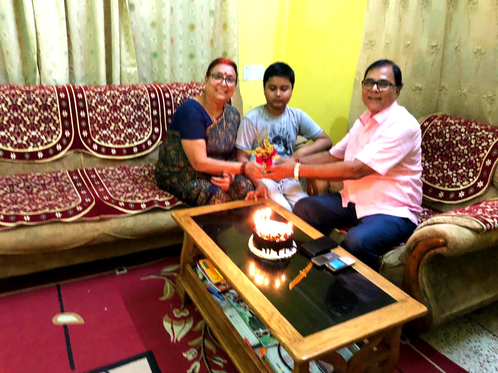 Dr.Madhepuri & Wife Smt.Renu Choudhary celebrating 6th June with Grandson Aditya at Vrindavan Madhepura.