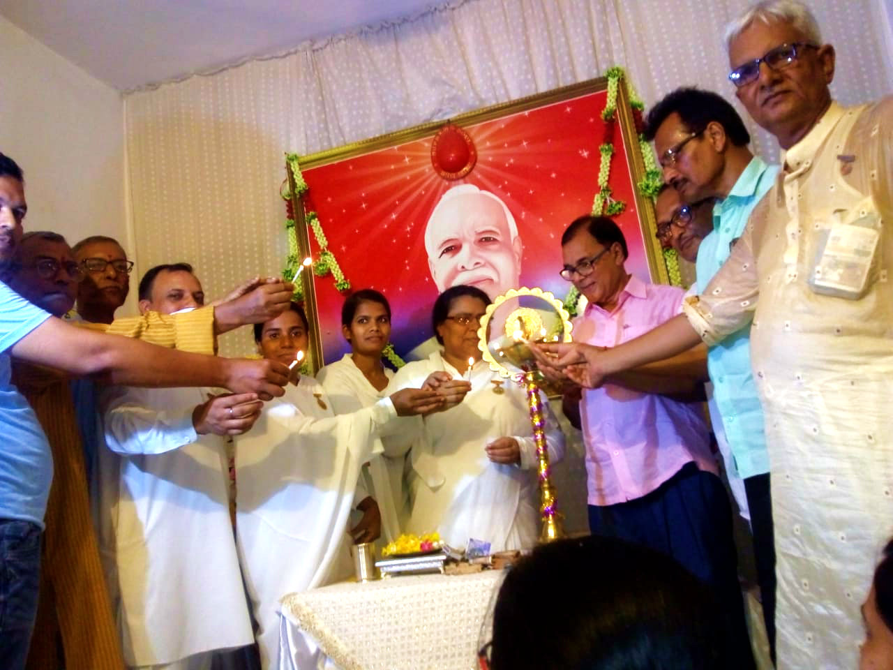 Samajsevi Dr.Bhupendra Madhepuri along with Rajyogini Brahmakumari Ranju, Dr.Ajay, Dr.Naresh, Vinay Vardhan alias Khokha Yadav, Durga-Janki Bahan & others inaugurating the 54th Punya Tithi Samaroh of Mateshwari Jagdamba Saraswati at Prajapita Brahma kumari Ishwariya Vishwavidyalaya Branch, Madhepura