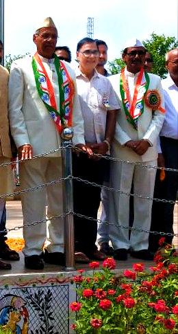 Dr.Madhepuri along with VC & ProVC during the celebration of 73rd independence day at Mandal University Madhepura.
