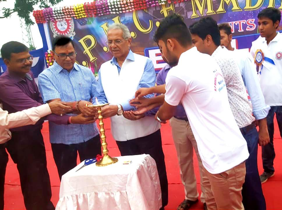 Dr.Madhepuri along with VC Dr.A.K.Roy, Principal Er.Arvind Kumar Amar & others inaugurating the Annual Function of BP Mandal Engineering College , Madhepura.