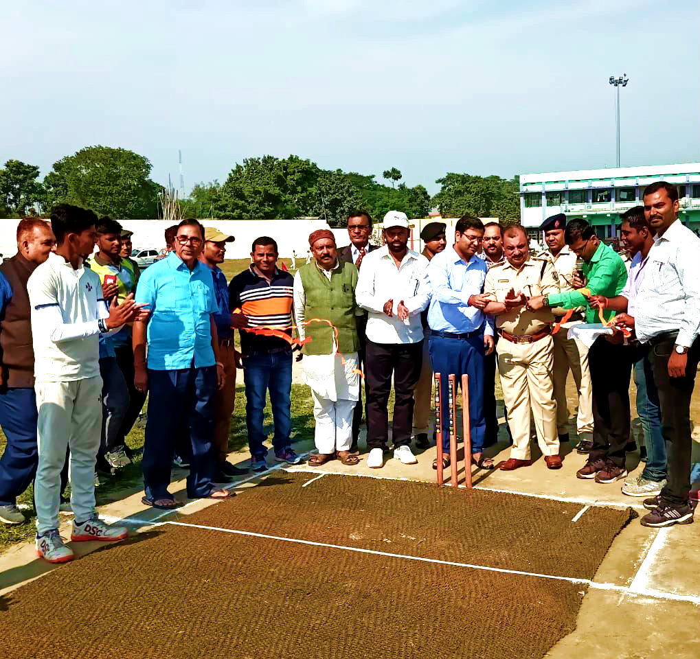 DM Navdeep Shukla & Secretary Arun Kumar in presence of Dr.Madhepuri and other dignitaries inaugurating the State Level Boys Cricket Tournament.