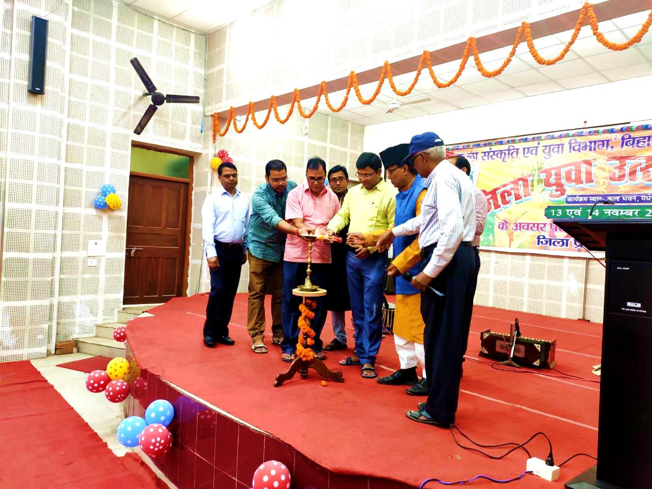 Dr.Madhepuri along with DM Navdeep Shukla inaugurating Zila Yuva Utsav- 2019 with members Shaukat Ali, Gandhi kumar Mistri, Avinash Kumar, J.K.Yadav & others at Bhupendra Smriti Kala Bhawan Madhepura.