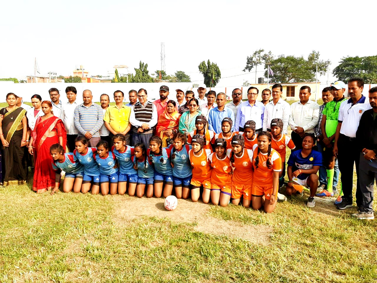 Dr.Madhepuri, Manju Devi and others with Rugby Team in a group photography at BN Mandal Stadium Madhepura.