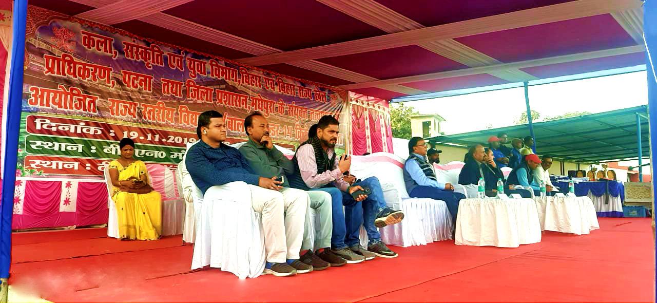 Dr.Madhepuri along with SDM Vrindalal, NDC Rajneesh Kumar Ray and others enjoying the Final Match of State Level Boys Cricket Tournament at BN Mandal Stadium Madhepura.