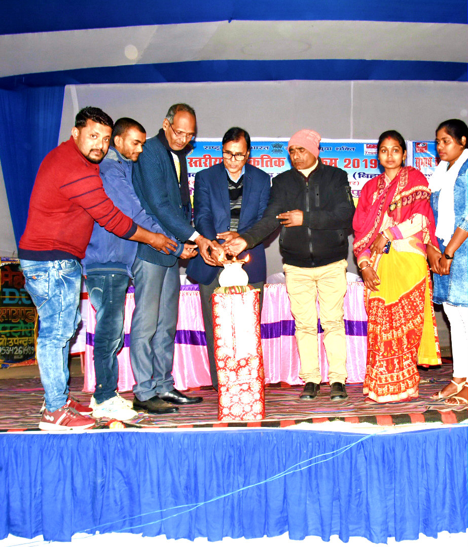 Dr.Madhepuri inaugurating the District level cultural Programme along with Co-ordinator Ajay Kumar Gupta, Dr.Sanjay Parmar & others at BP Mandal Nagar Bhawan,Madhepura.