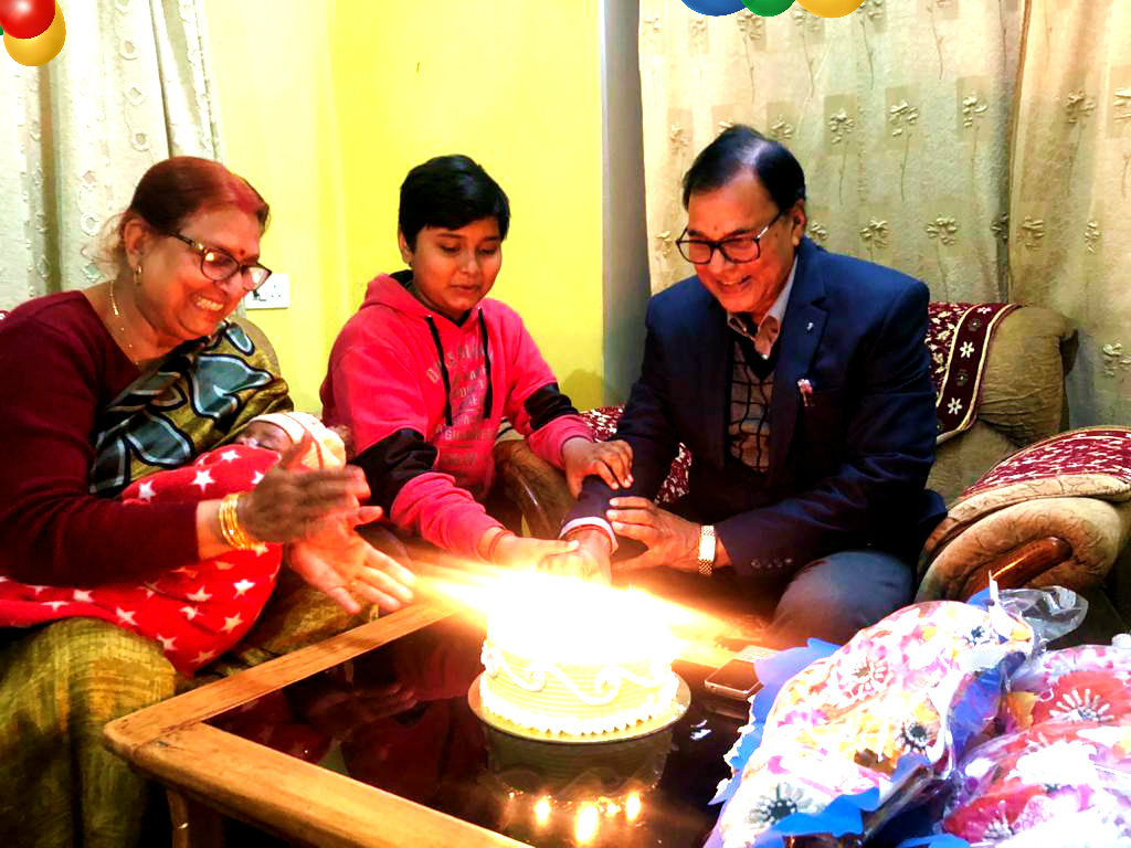 Celebrations of Dr.Madhepuri's Happy Birthday (10th February) with Grand Sons Aditya & Akshat and their Nani.