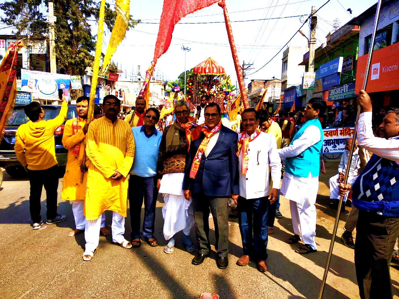 Dr.Madhepuri taking part in the procession of Shyam Sakha Mahotsav.