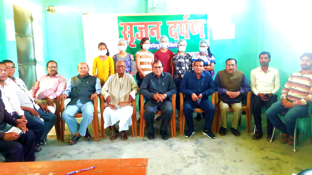 Dr.B.N.Yadav Madhepuri along with Prof.Y.N.Yadav, Senator Dr.Naresh Kumar and all the members of Srijan Darpan attending awareness programme of Corona Virus.