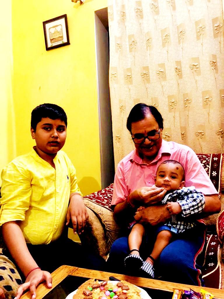 Nana Dr.Madhepuri with his grandsons Aditya & Akshat.