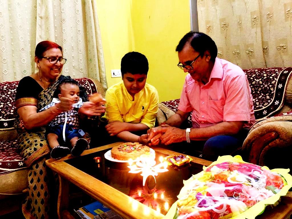 Dr.Bhupendra Madhepuri celebrating Happy Birthday of his grandson Aditya along with grandmother Renu & younger brother alias Chhote Kalam at Vrindavan, Madhepura.